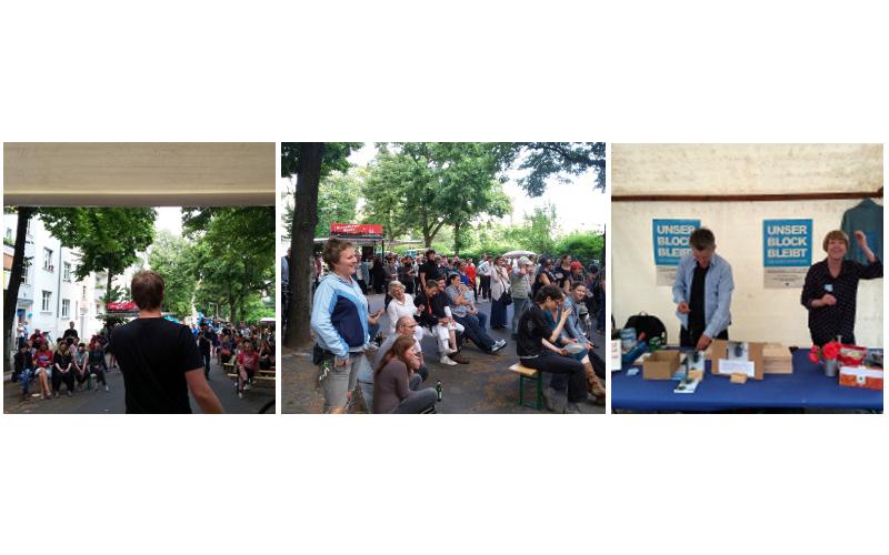 Das Straßenfest von unser Block bleibt aus 3 Perspektiven: Publikum, Sprecher von der Bühne und 2 Vereinsmitglieder am Stand