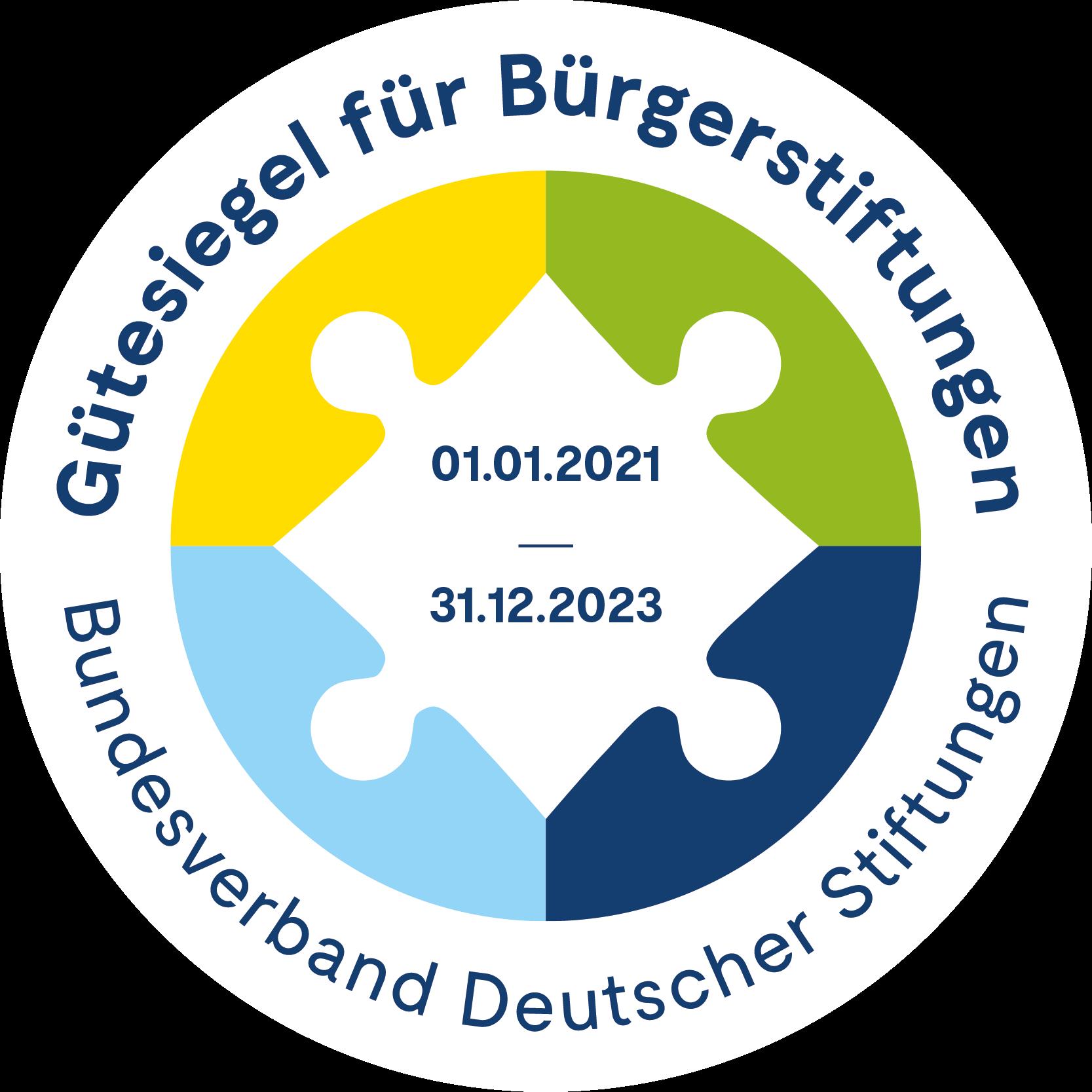 Logo des Gütesiegel für Bürgerstiftung des Bundesverband Deutscher Stiftungen, gültig vom 01.01.2021 bis 31.12.2023