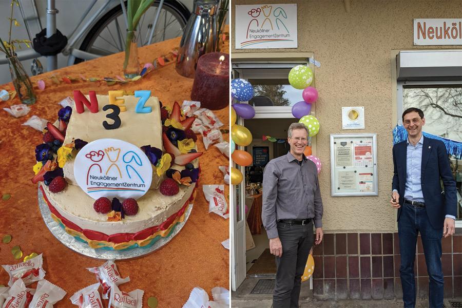 Auf der linken Seite ein bunter NEZ-Geburtsstagskuchen, auf der rechten Seite stehen Friedemann Walther und Martin Hikel vor der mit Luftballons geschmückten NEZ-Tür