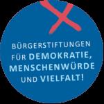Rundes Symbol mit Text: Bürgerstiftungen für Demokratie, Menschenwürde und Vielfalt