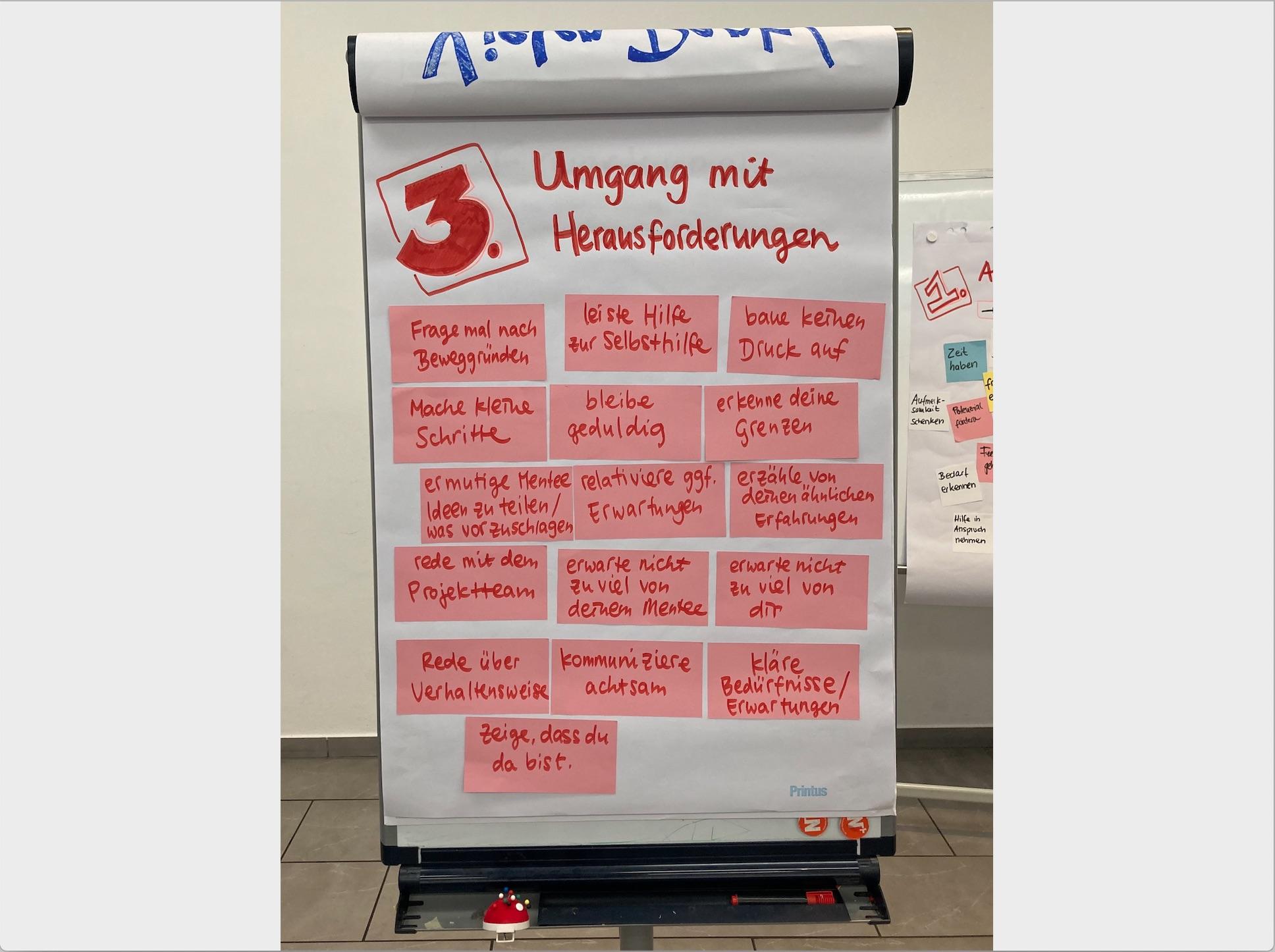 Whiteboard zum Thema Umgang mit Herausforderungen